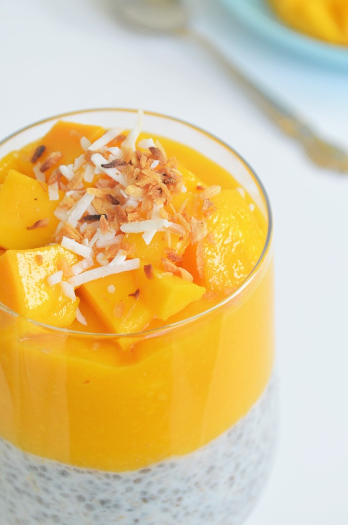Single Serving Coconut and Mango Chia Pudding