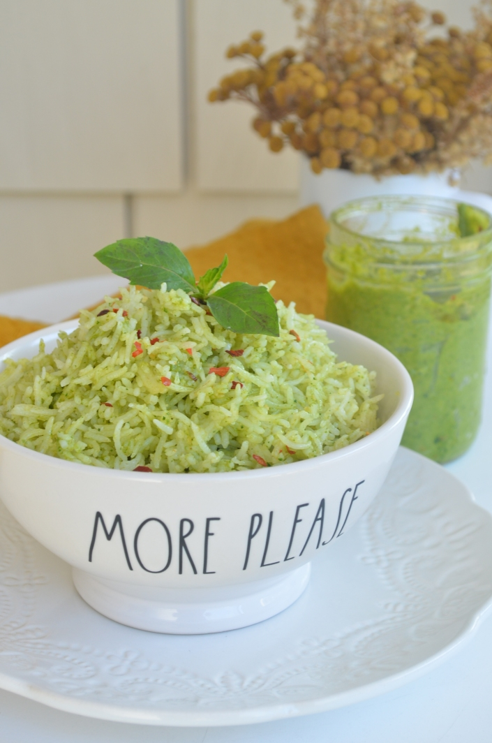Small Batch Homemade Spinach Pesto Rice