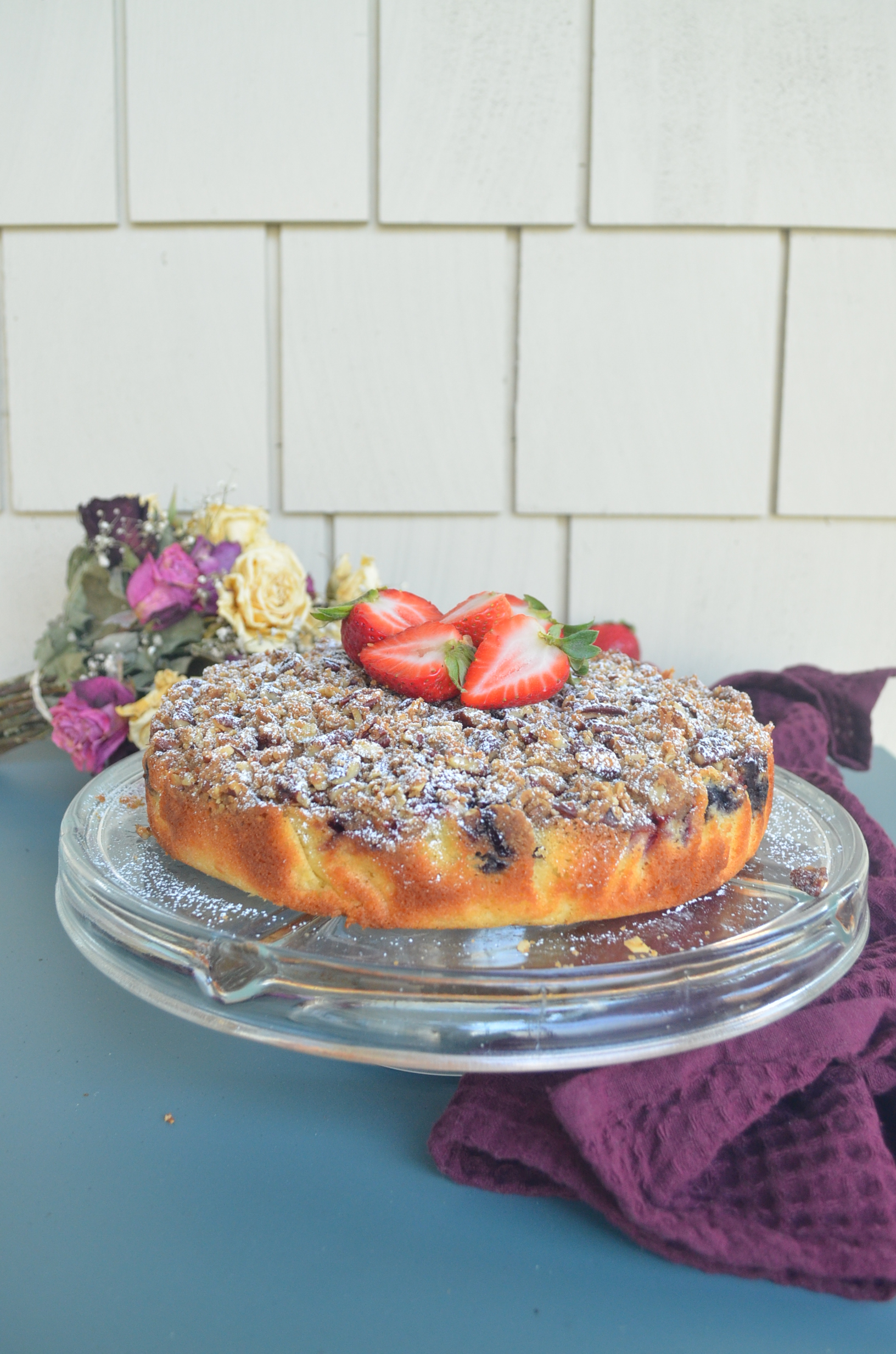 Strawberry and Blueberry Almond Crumb Cake