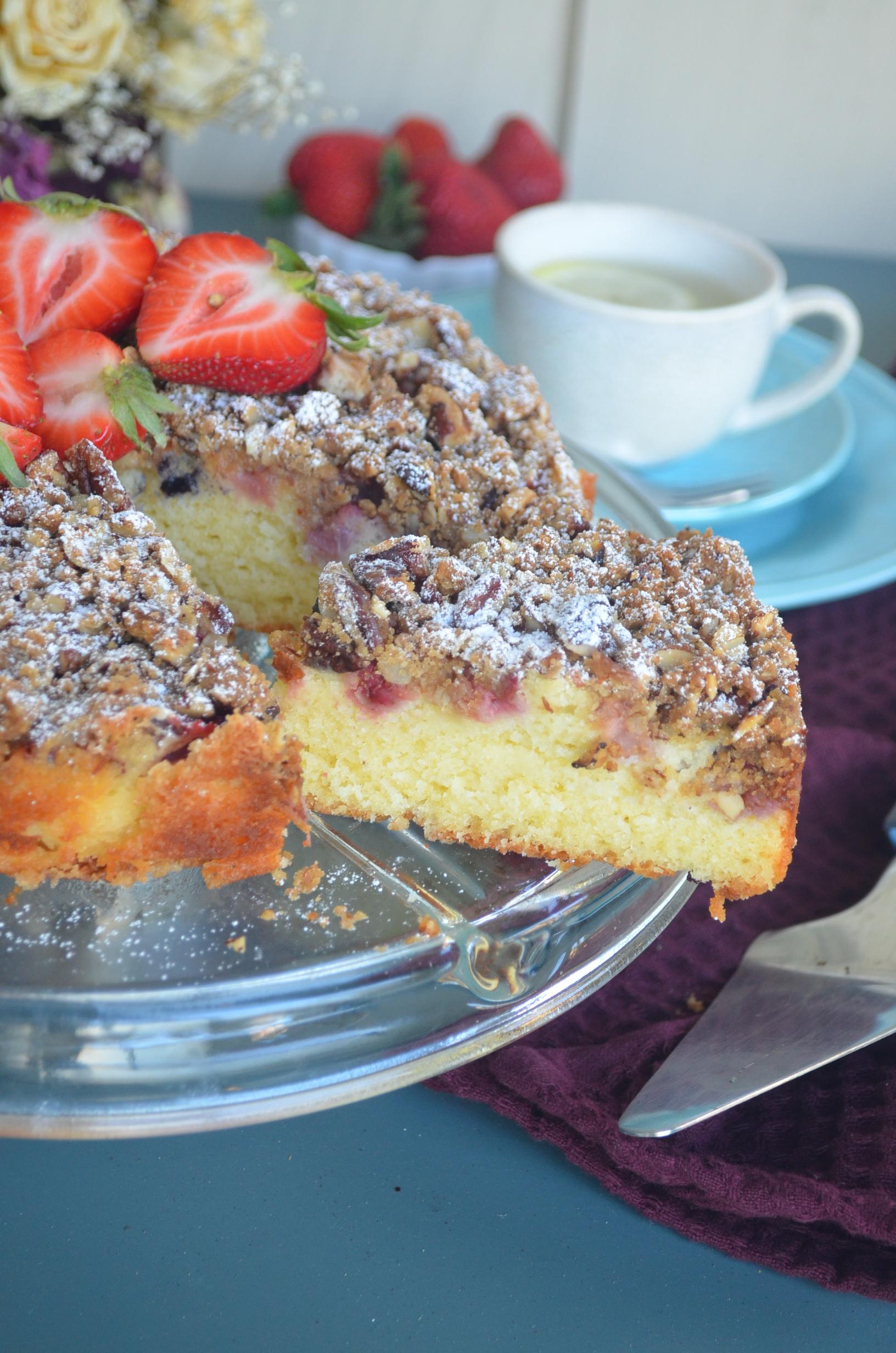 Summer Berries Almond Crumb Cake By SweetnSpicyLiving