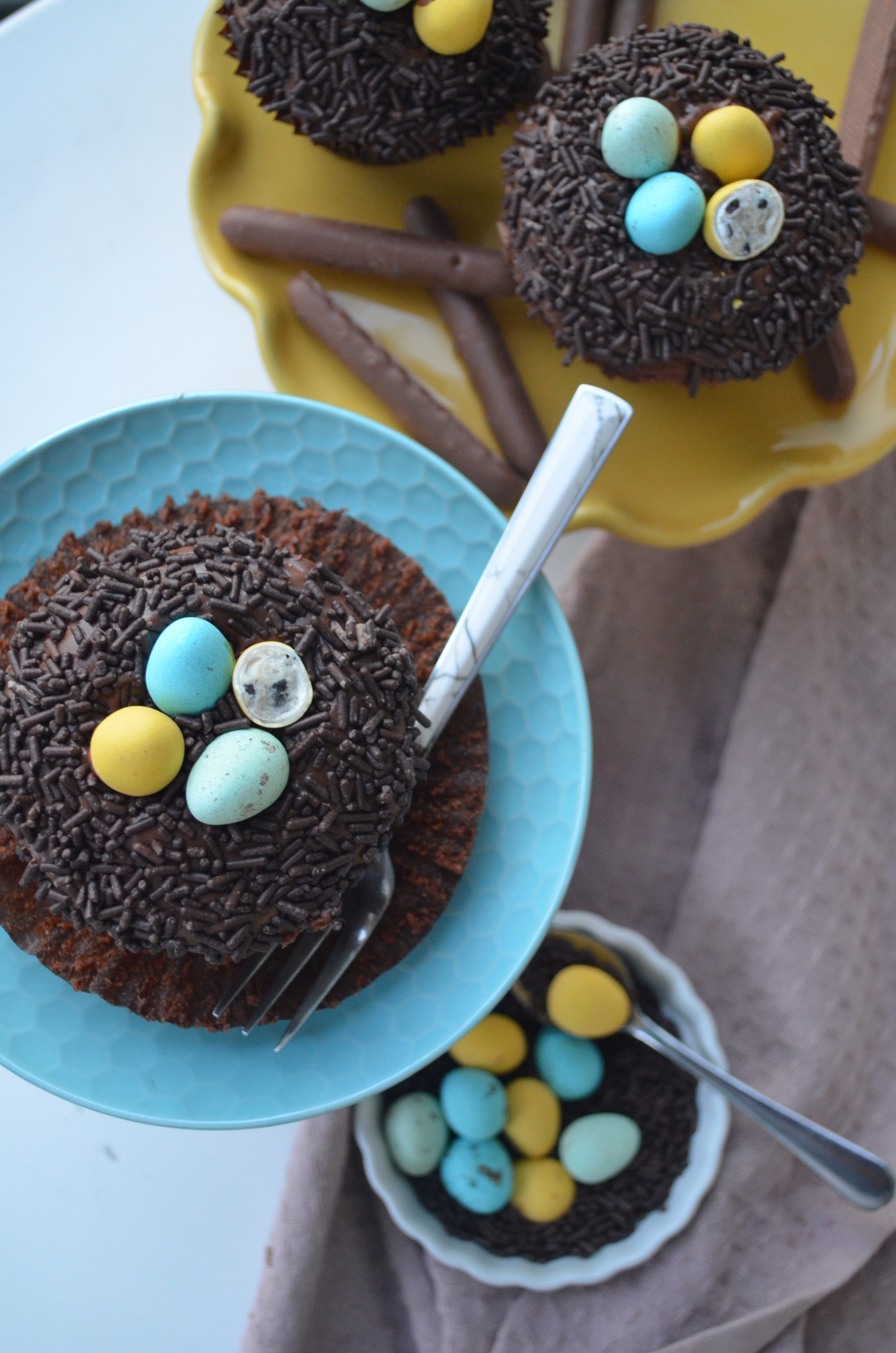 Easter Egg Nest Chocolate Cupcake By SweetNSpicyLiving