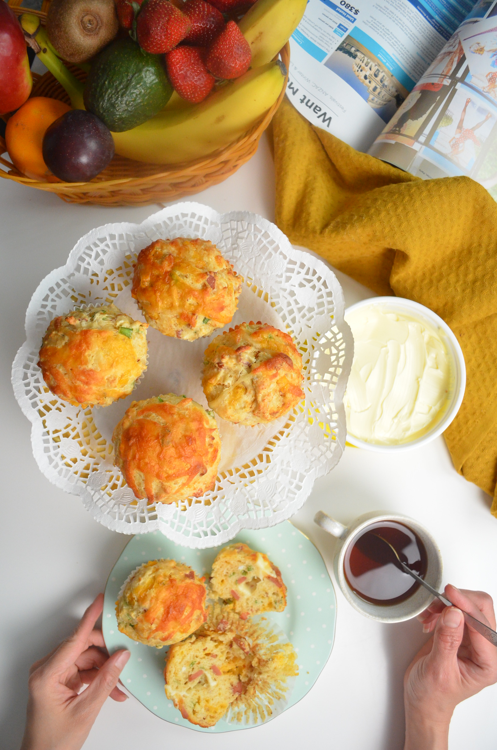 Easy Savory Green Onion Ham and Cheese Muffin By SweetNSpicyLiving