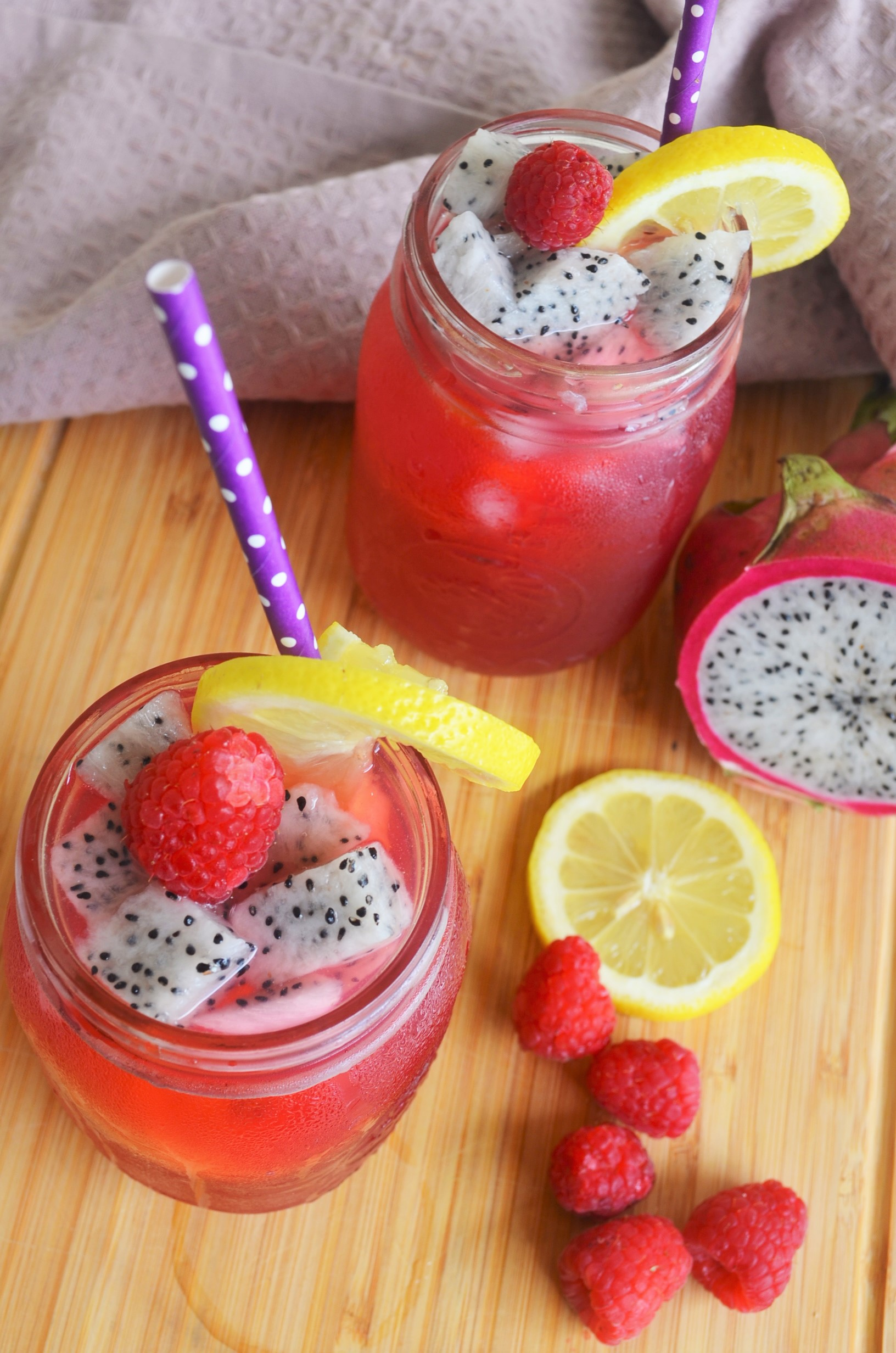 Raspberry and Dragin Fruit Lemonade