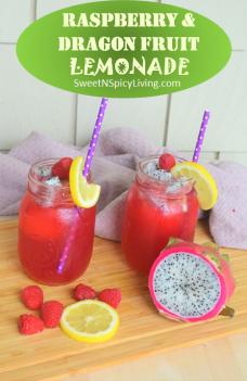 Raspberry and Dragon Fruit Lemonade