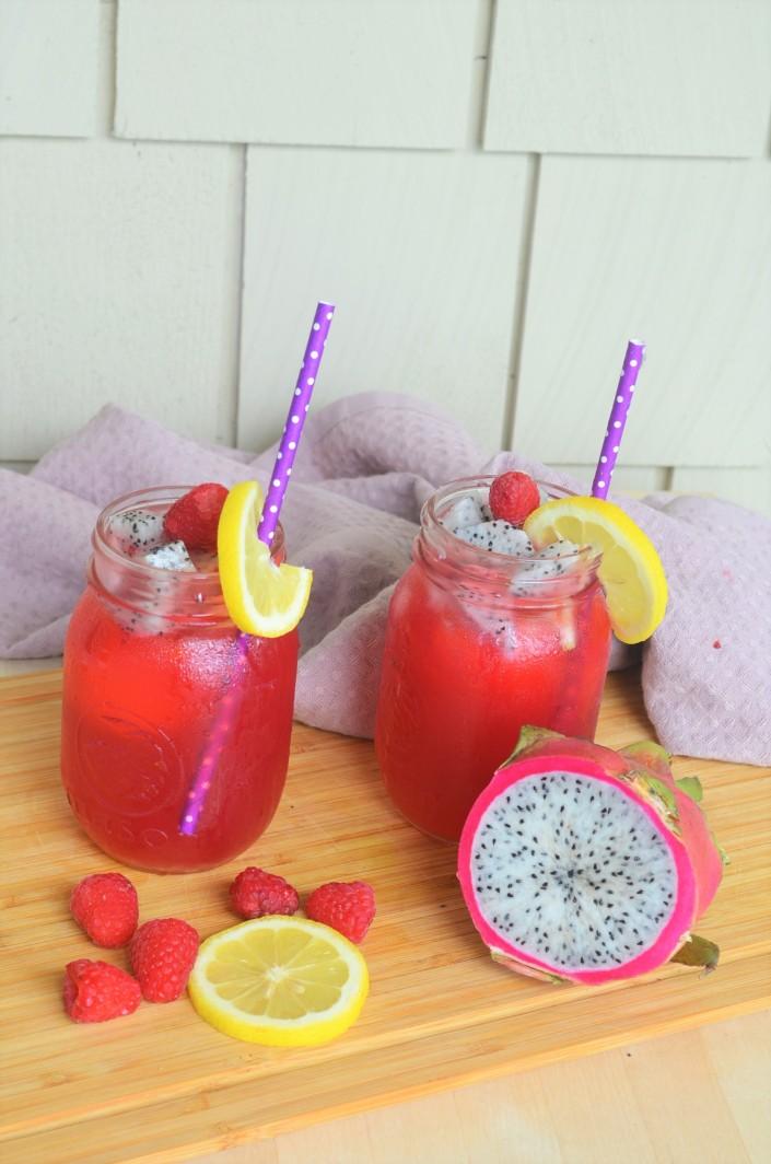 Raspberry and Dragon Fruit Shaken Ice Tea Lemonade