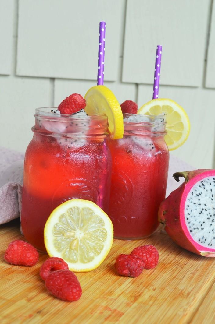 Raspberry and Dragon Fruit Shaken Iced Tea