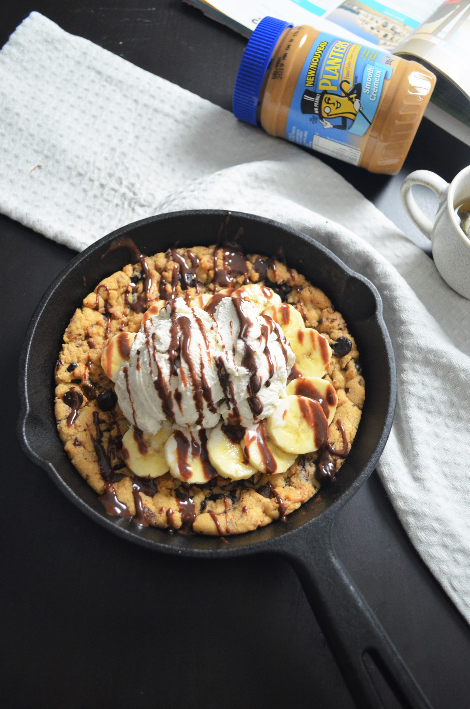 Skillet Peanut Butter Chocolate Chip Cookie