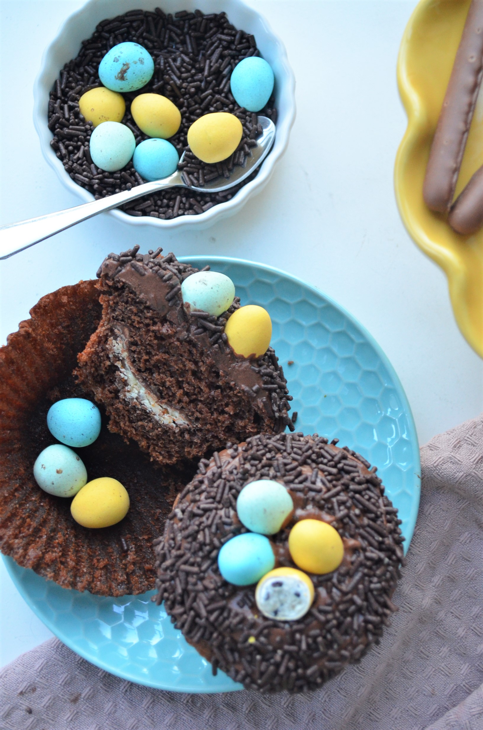 Small Batch Easter Egg Nest Chocolate Cupcake