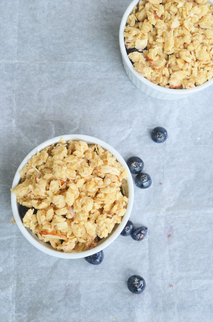 Small Batch Gluten Free and Vegan Blueberry Crisp For Two By SweetNSpicyLiving