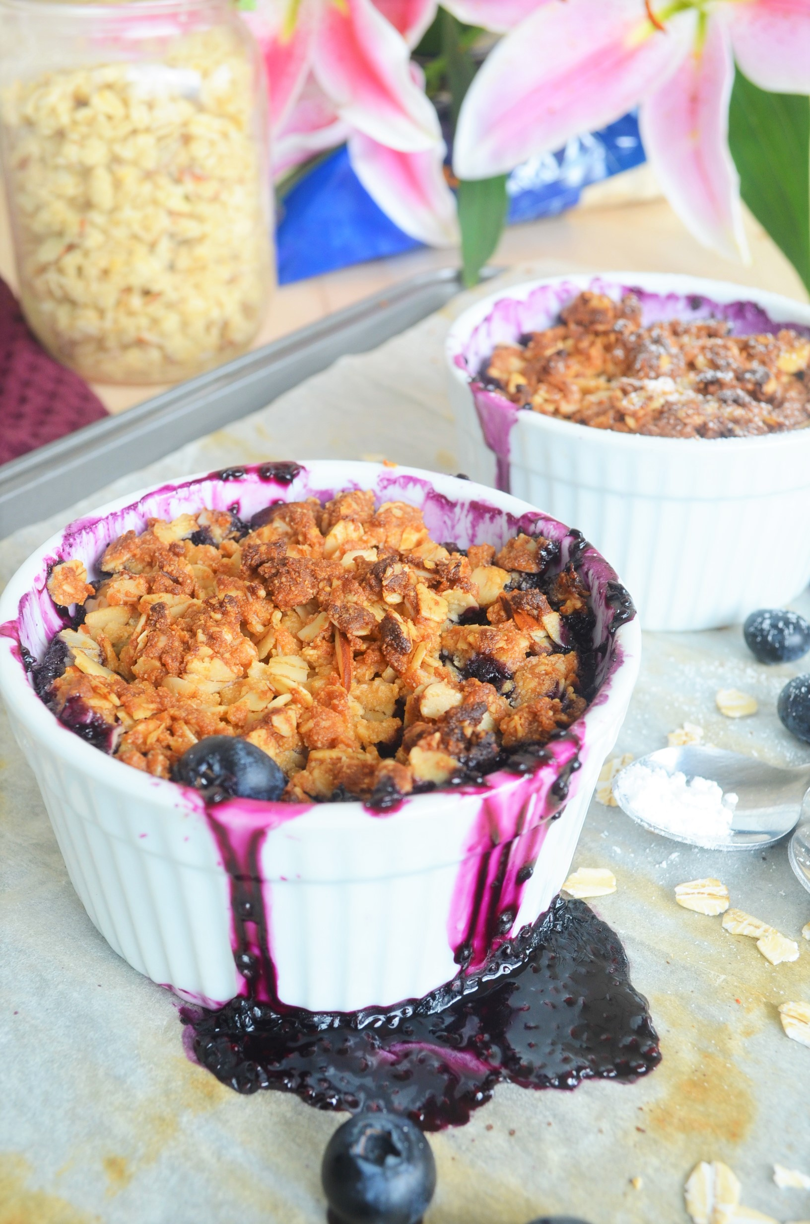 Small Batch Gluten Free and Vegan Blueberry Crisp For Two
