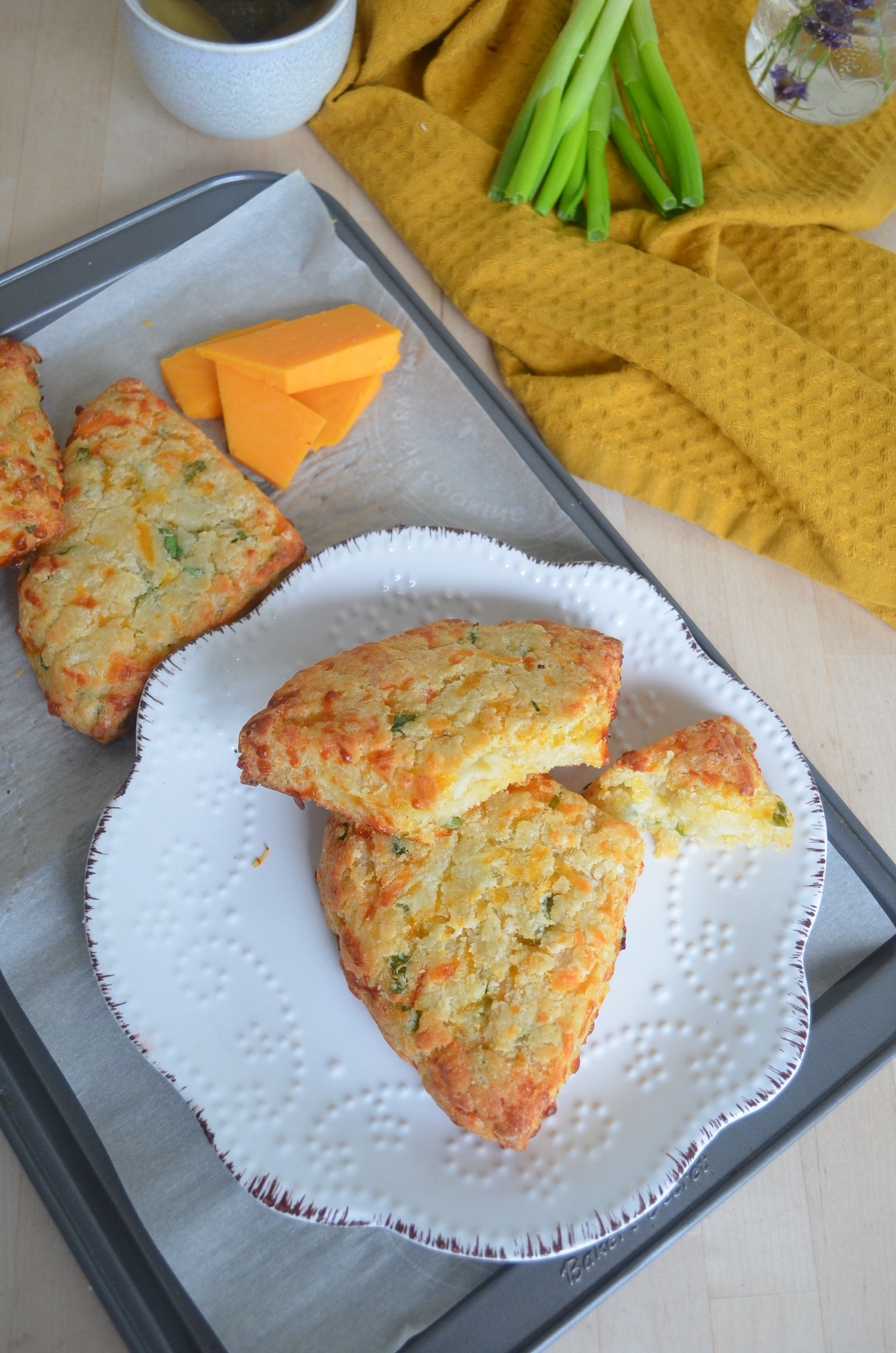 Small Batch Green Onion Potato Cheddar Scones
