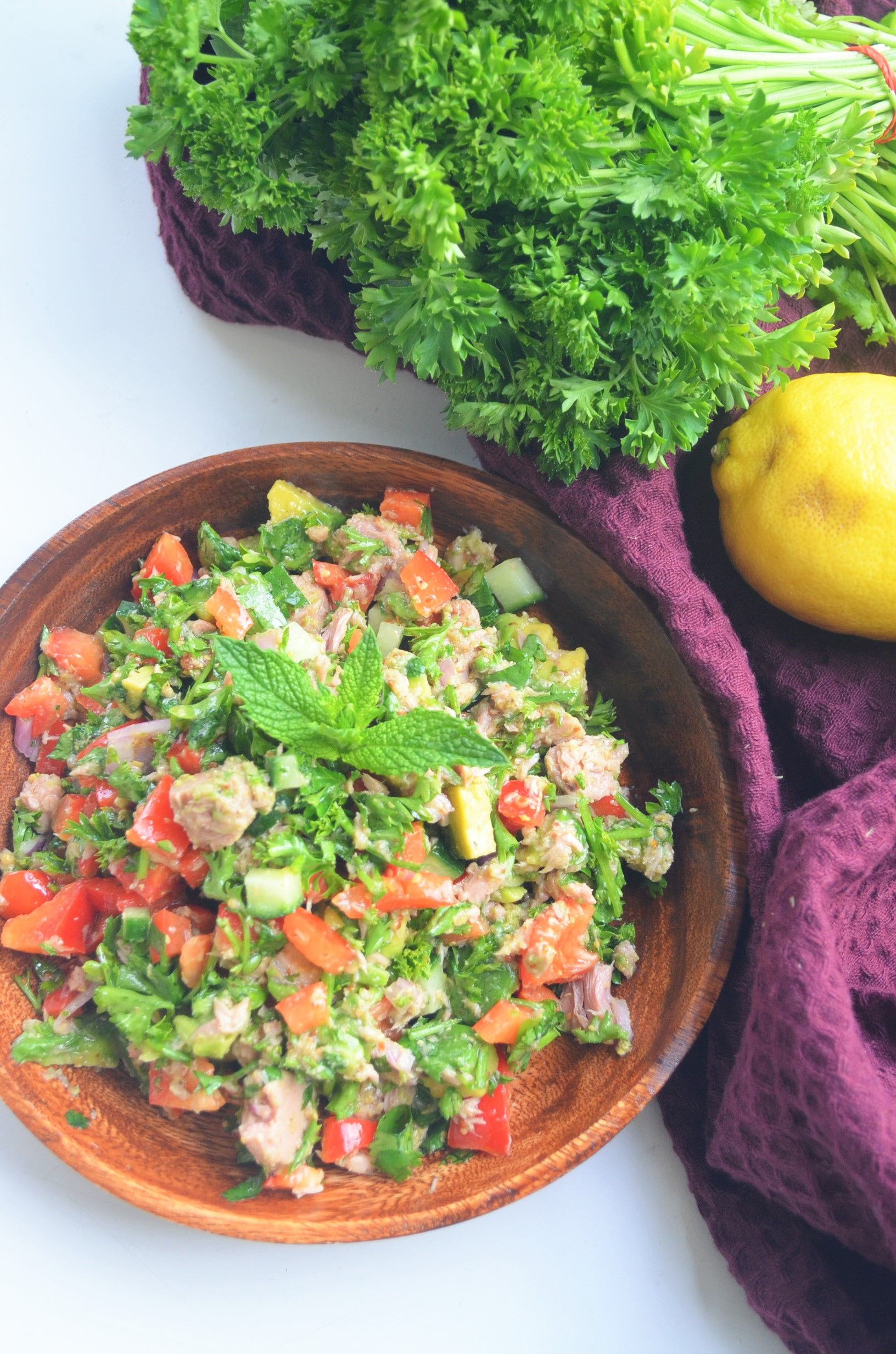 Avocado Tuna Salad with Lemon Dressing