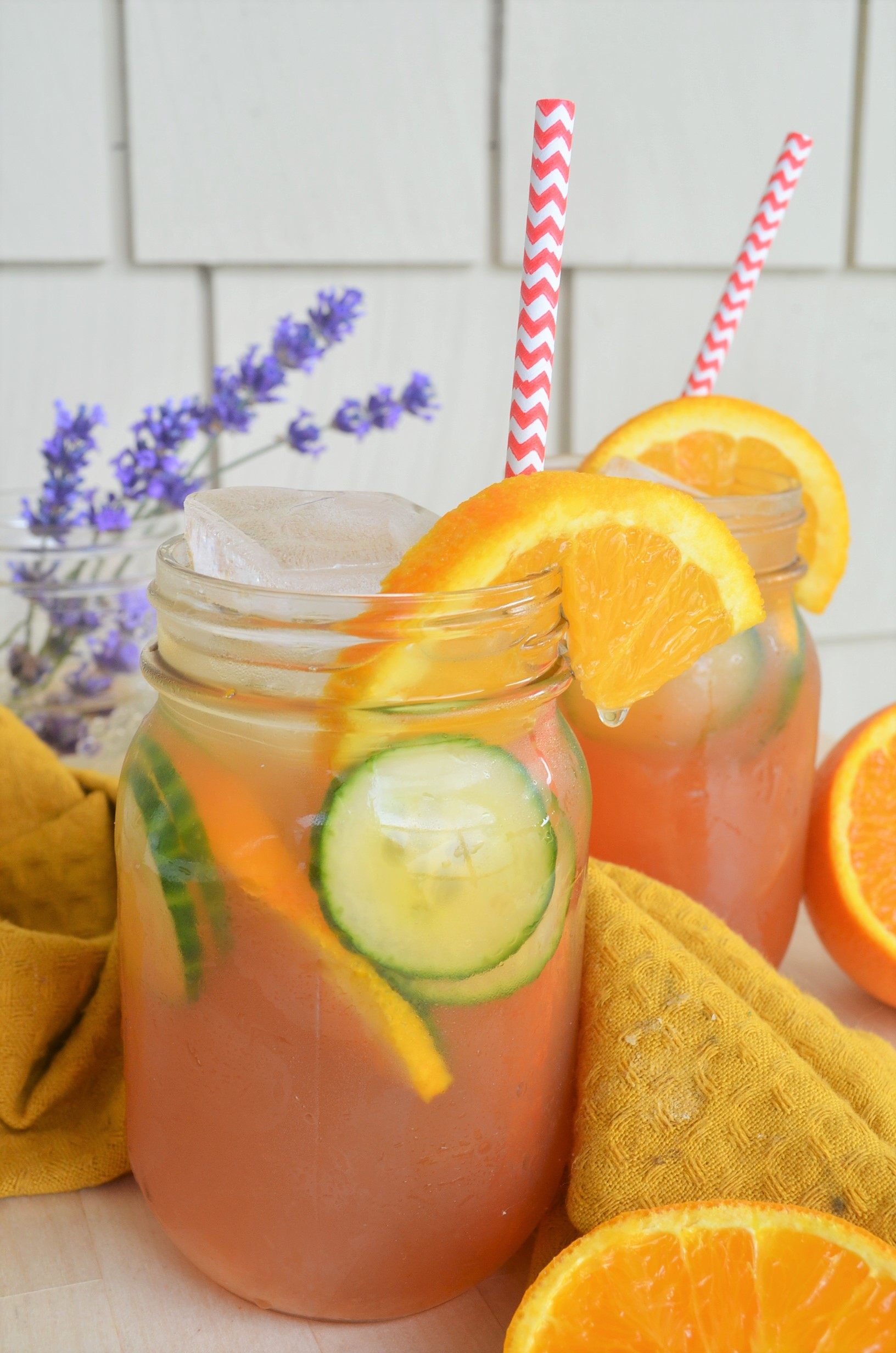 Homemade Orange Cucumber Shaken Iced Tea