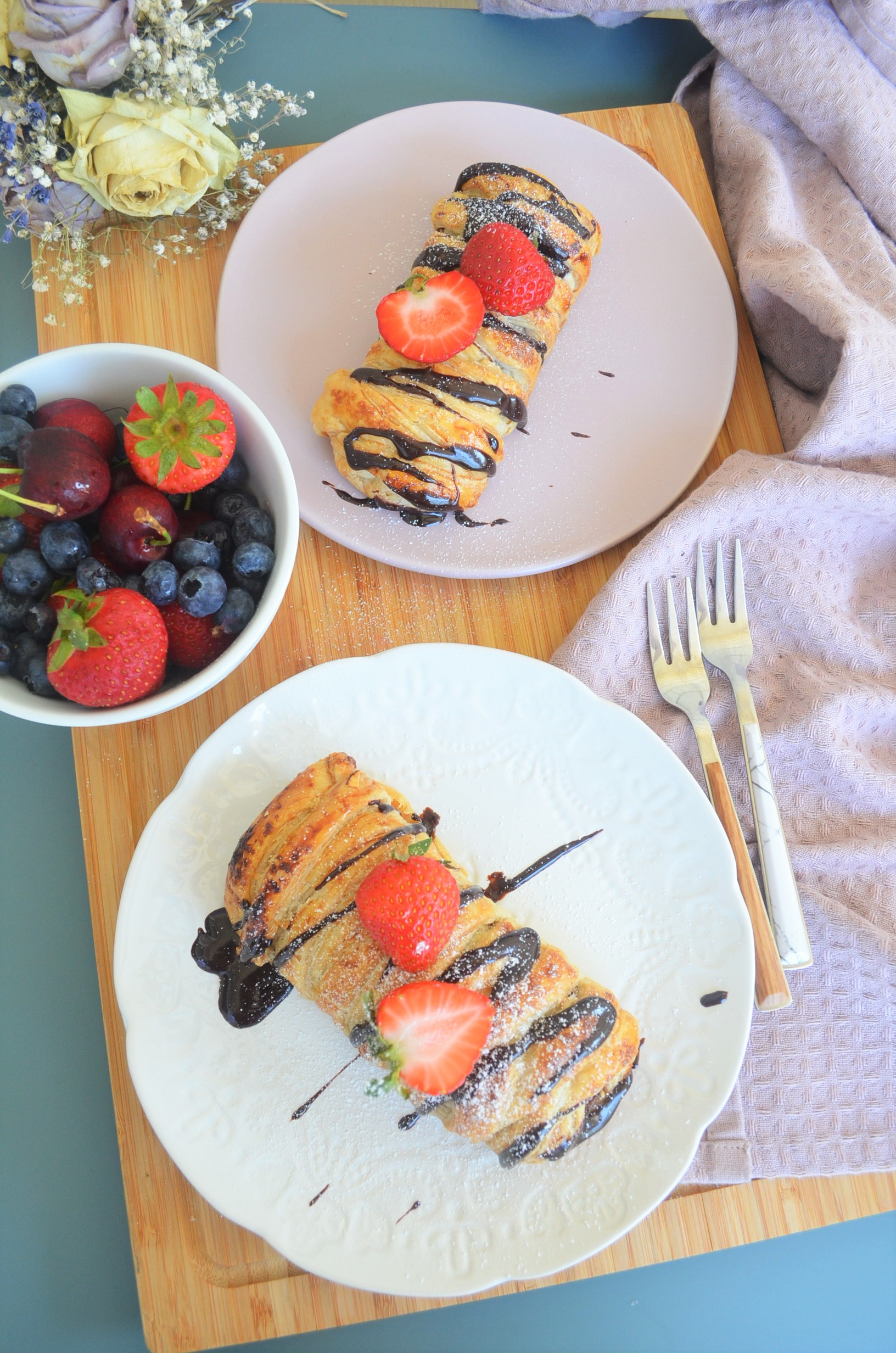 Braided Nutella Puff Pastry Bread'
