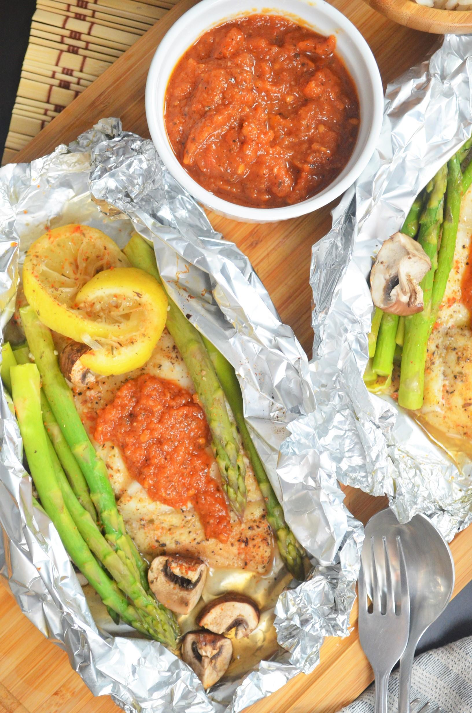 Foil Pack Asparagus & Basa Fillet