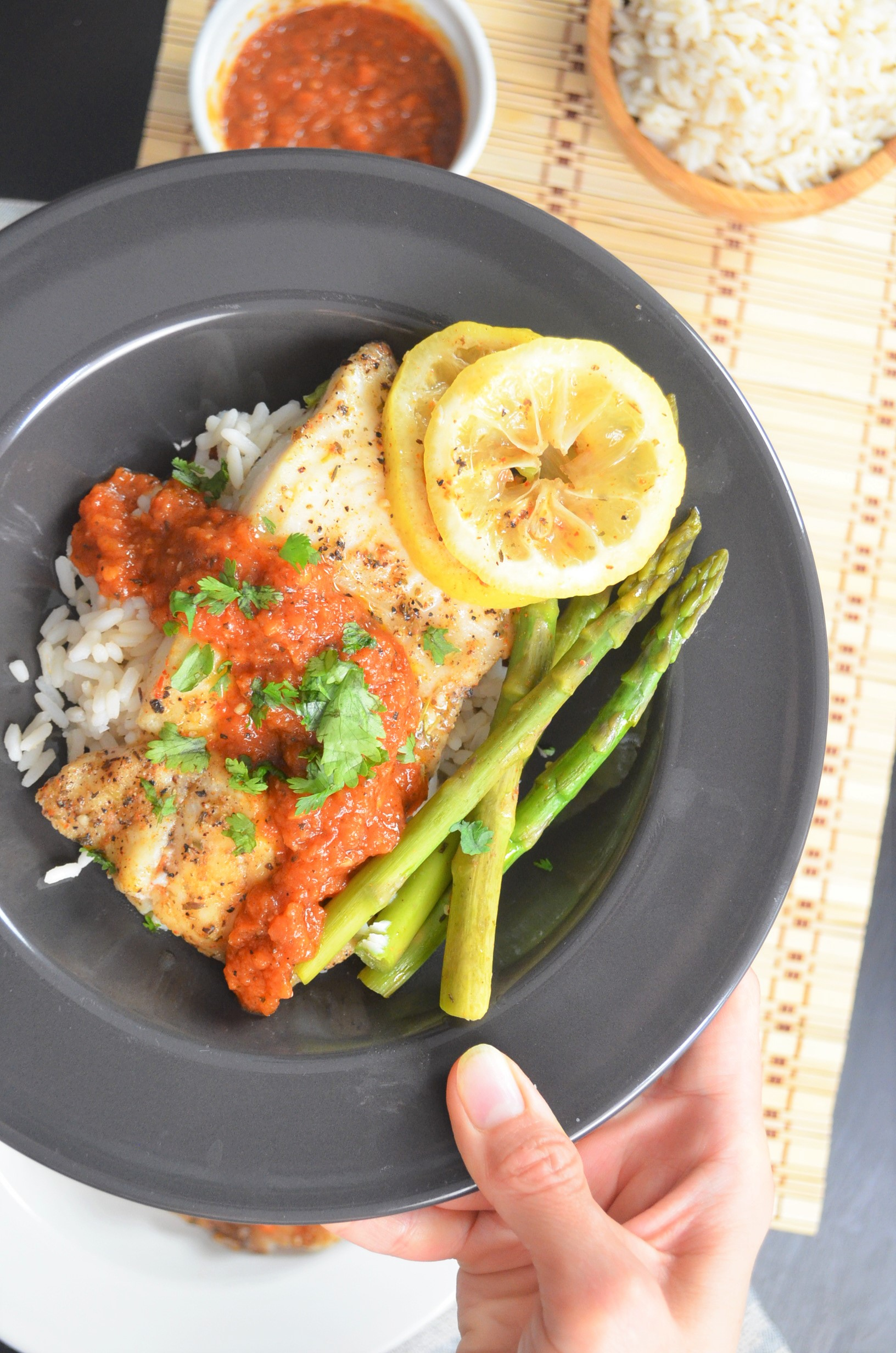 Foil Pack Basa Fillet with Firey Tomato Sauce