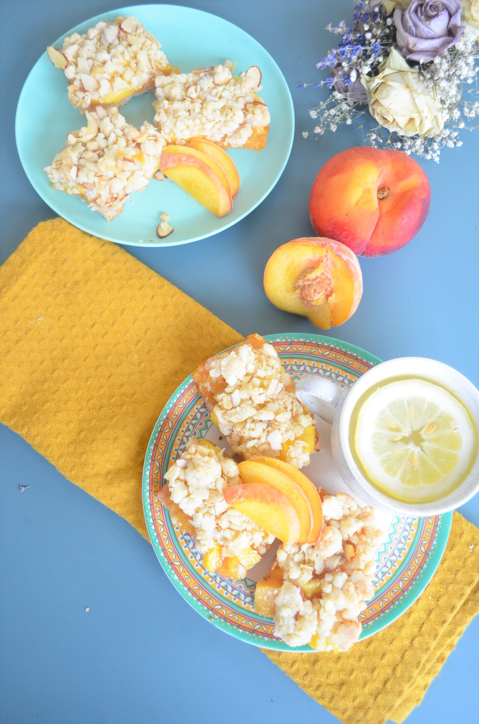 Peach Shortbread Oats Crumb Bar By SweetNSpicyLiving