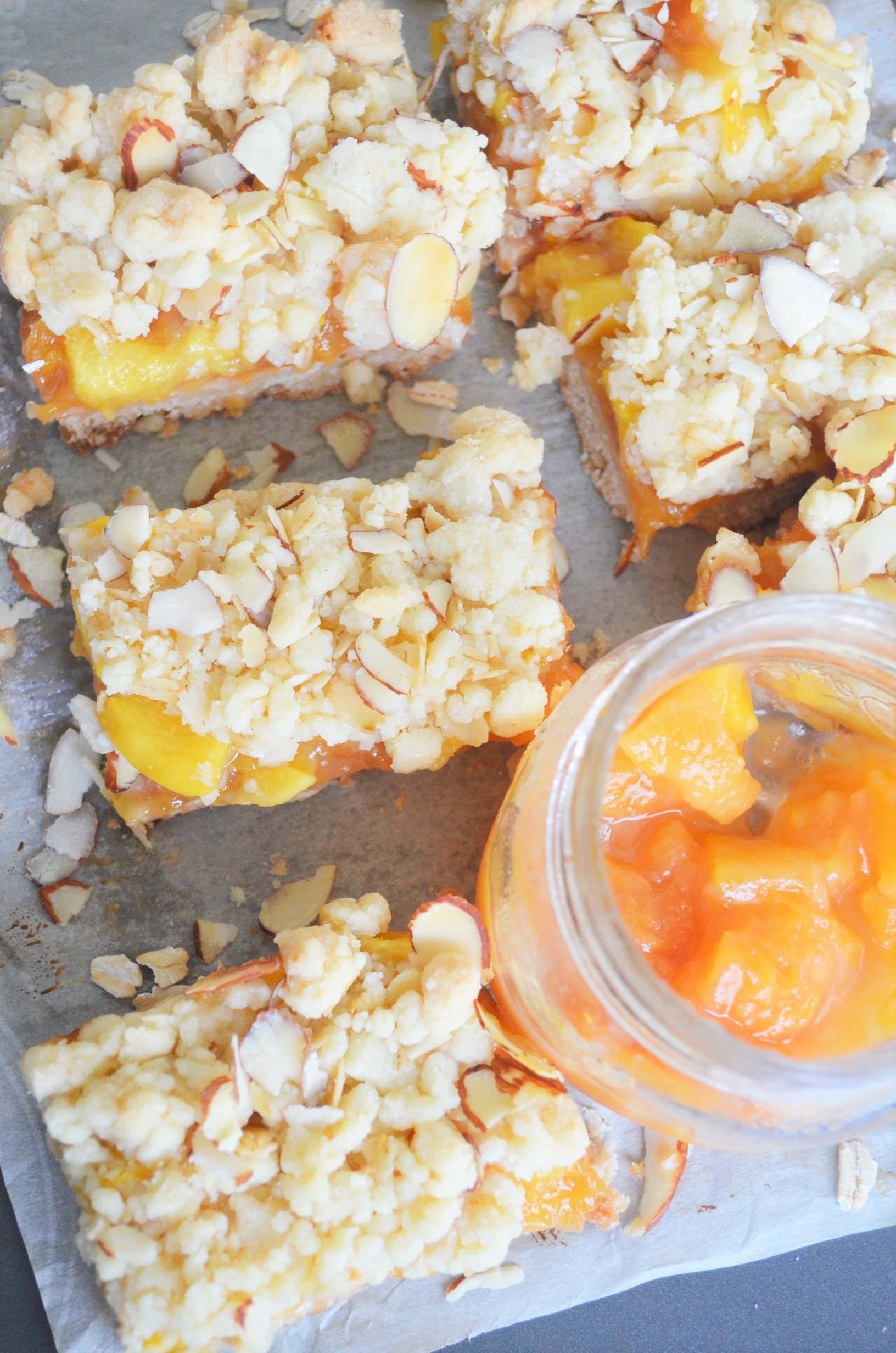 Peach Shortbread Oats Crumb Bar