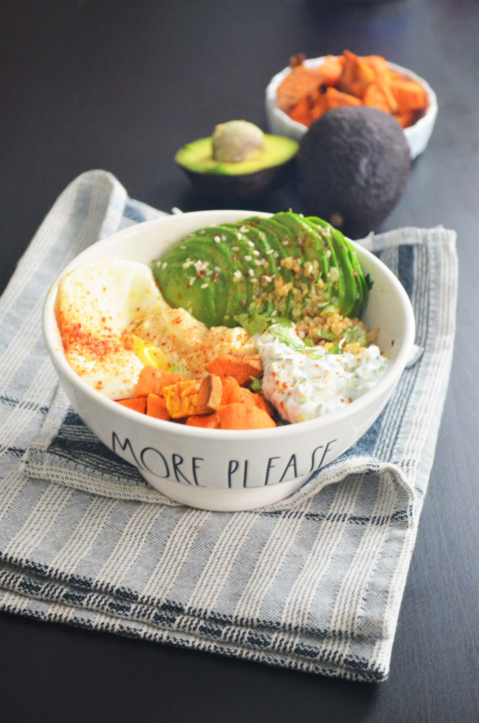 Sweet Potato with Avocado and Quinoa Bowl