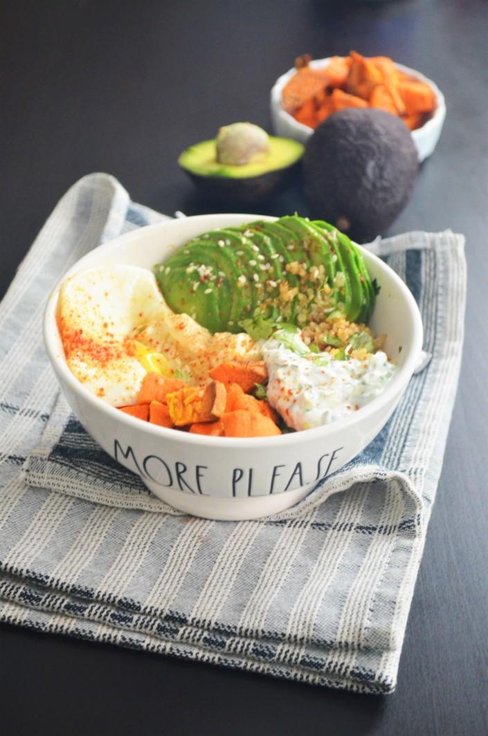 Sweet Potato with Avocado and Quinoa Bowl
