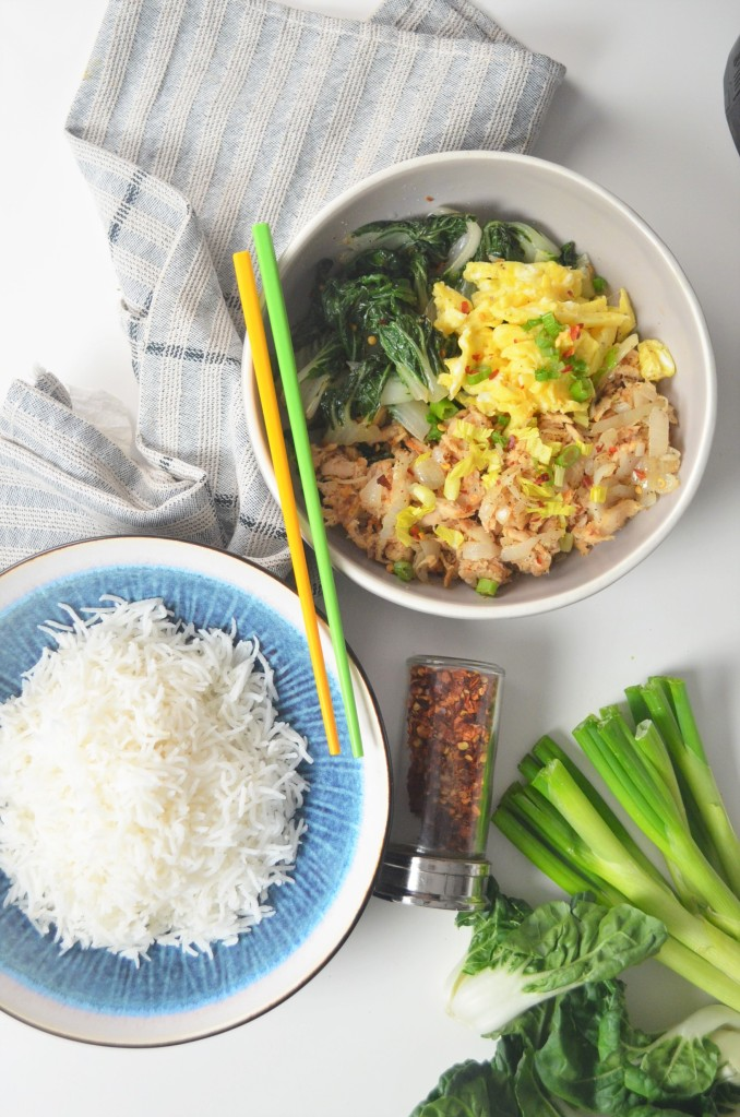 Tuna and Egg Bokchoy Rice Bowl