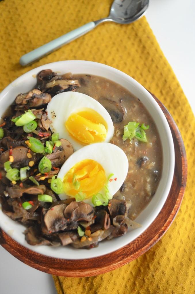 Savory Mushroom and Egg Oatmeal