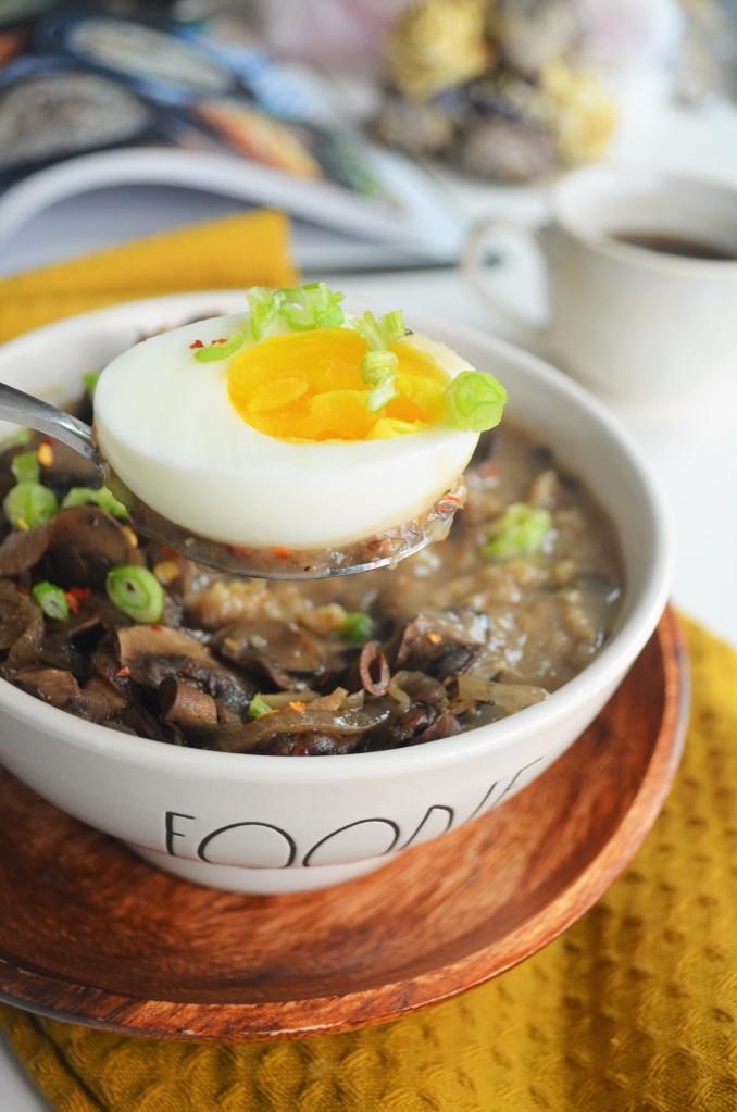 Mushroom and Egg Savory Oatmeal for One