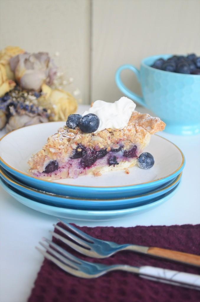 Blueberry Custard Cake Crumble Pie