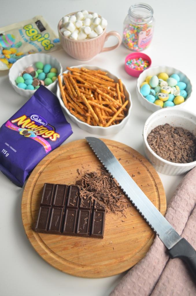 Ingredients for Pretzel & Marshmallow Bark Chocolate