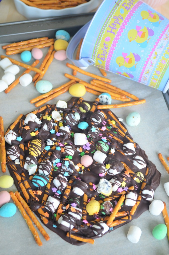 Small batch Easter Marshmallow and Pretzel Bark Chocolate