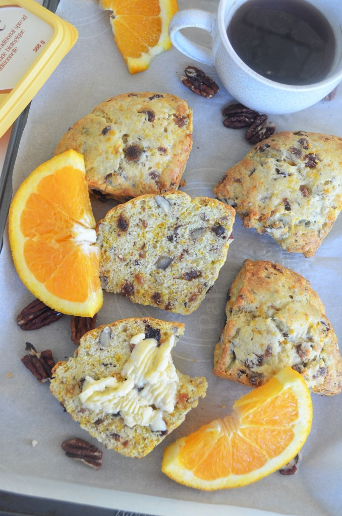 Orange Glazed Irish Soda Pecan Scones