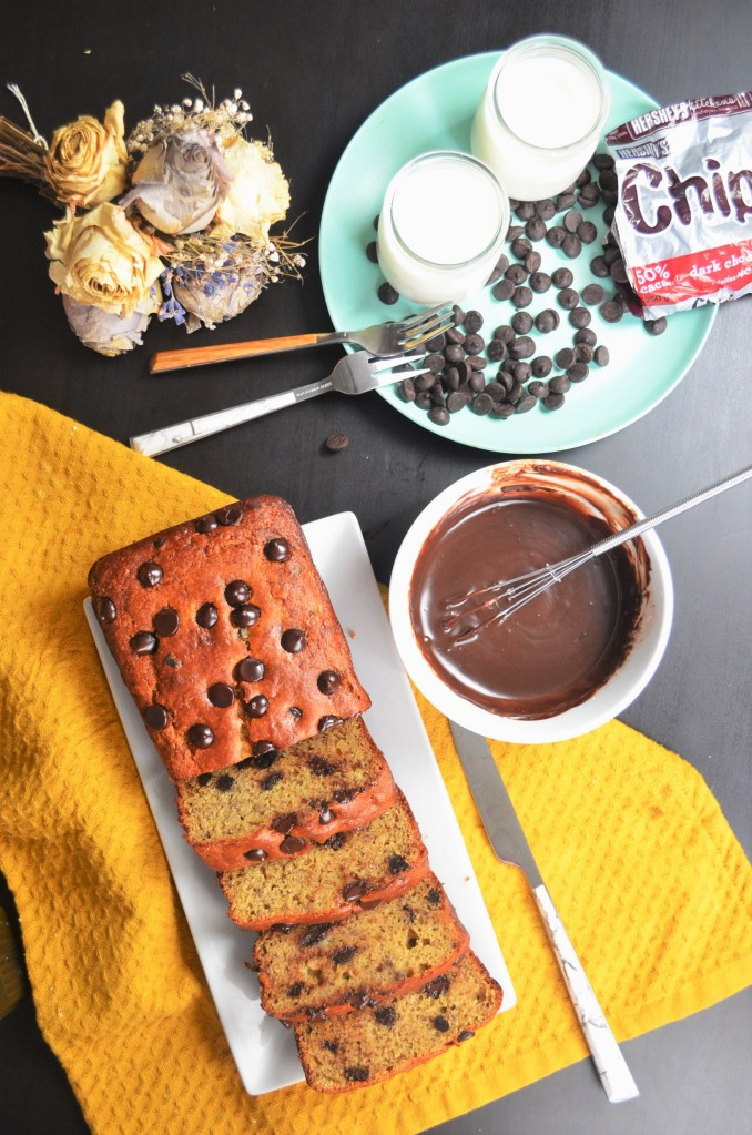 Chickpea Chocolate Chip Banana Bread By SweetNSpicyLiving