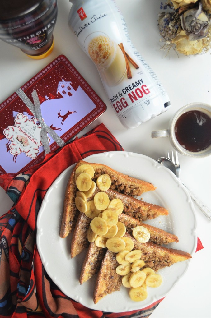 EggNog Pecan Crumble French Toast For One