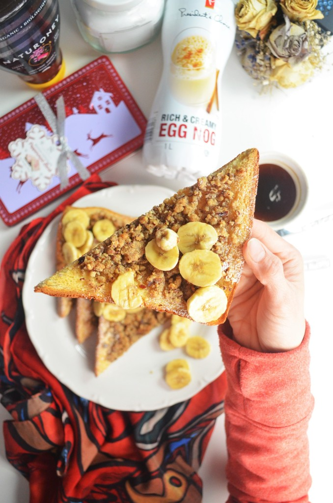 EggNog Pecan French Toast By SweetNSpicLiving