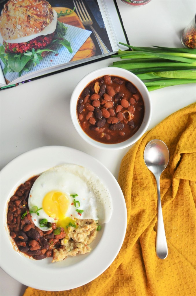 Beans and Egg Savory Oatmeal By SweetNSpicyLiving