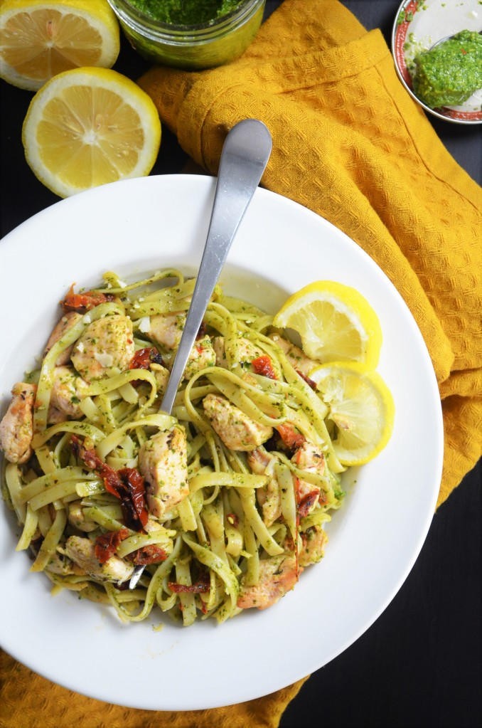 Small Batch Chicken Pesto Pasta with Sundried Tomato