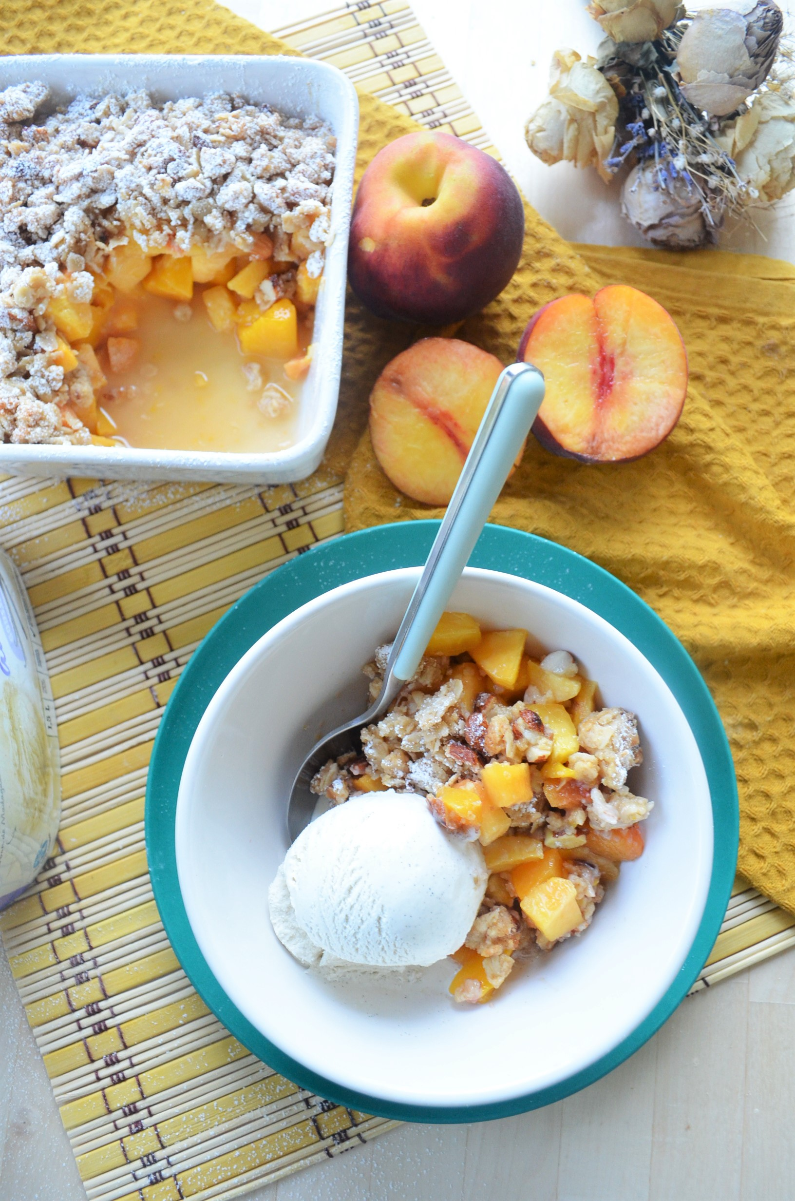 Peach and Mango Crisp For Two