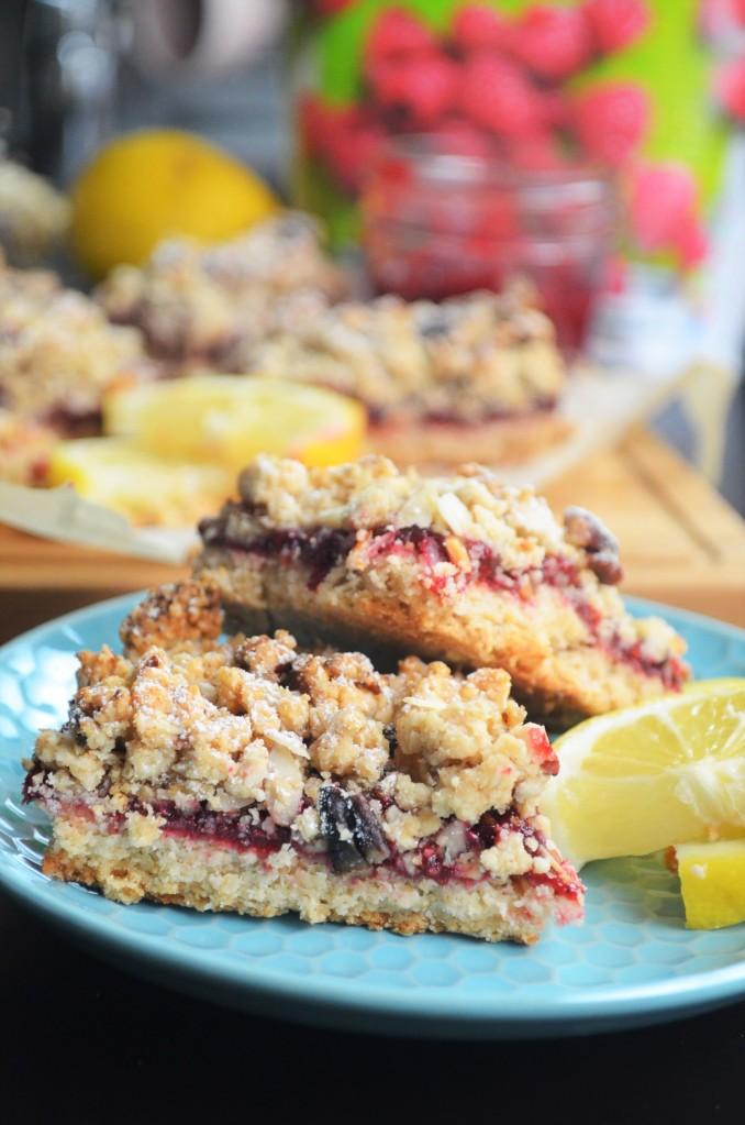 Small Batch Vegan Raspberry Lemon Bar