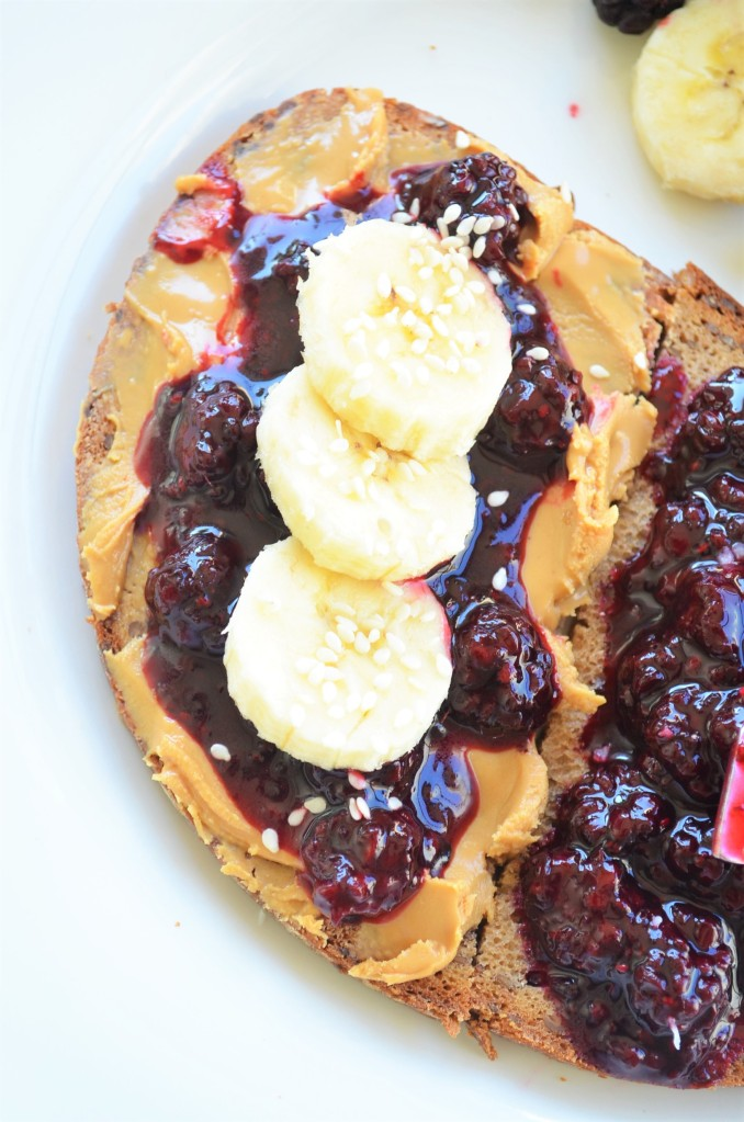 Peanut Butter Black Berry Jam Toast