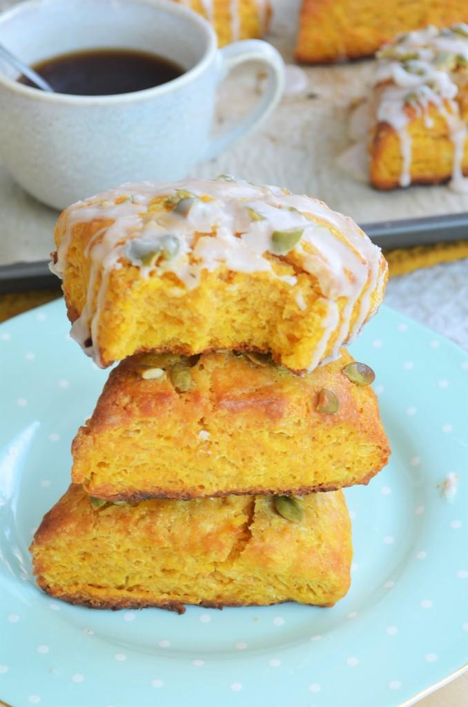 Pumpkin Scones with Sugar Glaze