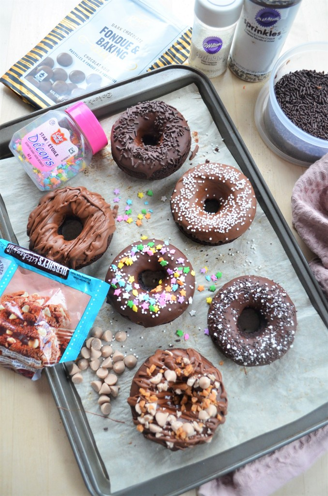 Small Batch Assorted Baked Chocolate Doughnuts