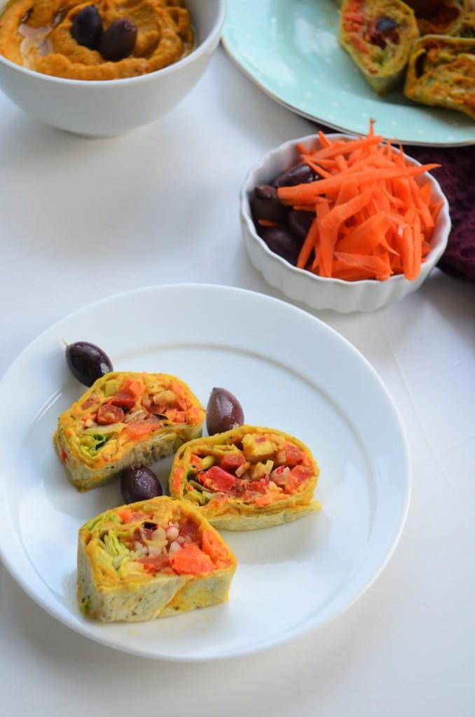 Roasted Veggie and Hummus Tortilla Wrap