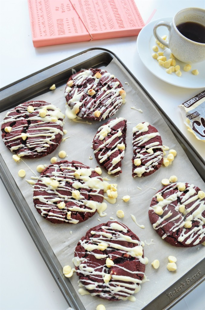 Red Velvet White Chocolate Chip Cookie By SweetNSpicyLiving