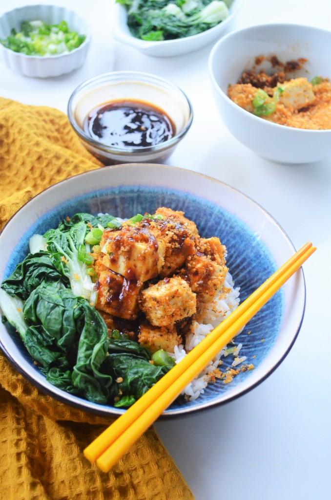Baked panko Crusted Teriyaki Tofu By SweetnSpicyLiving
