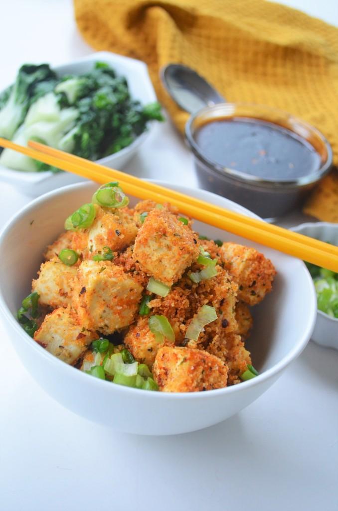 Baked panko Crusted Teriyaki Tofu