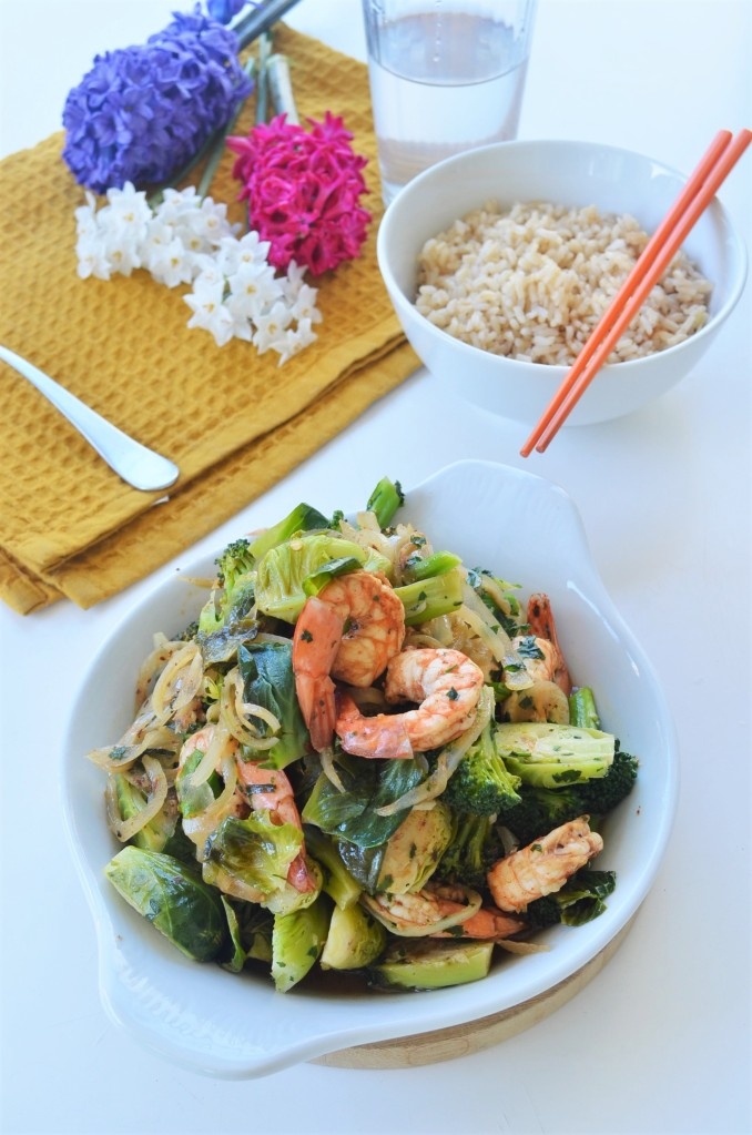 Broccoli and Brussels Sprout Shrimp Stir-Fry