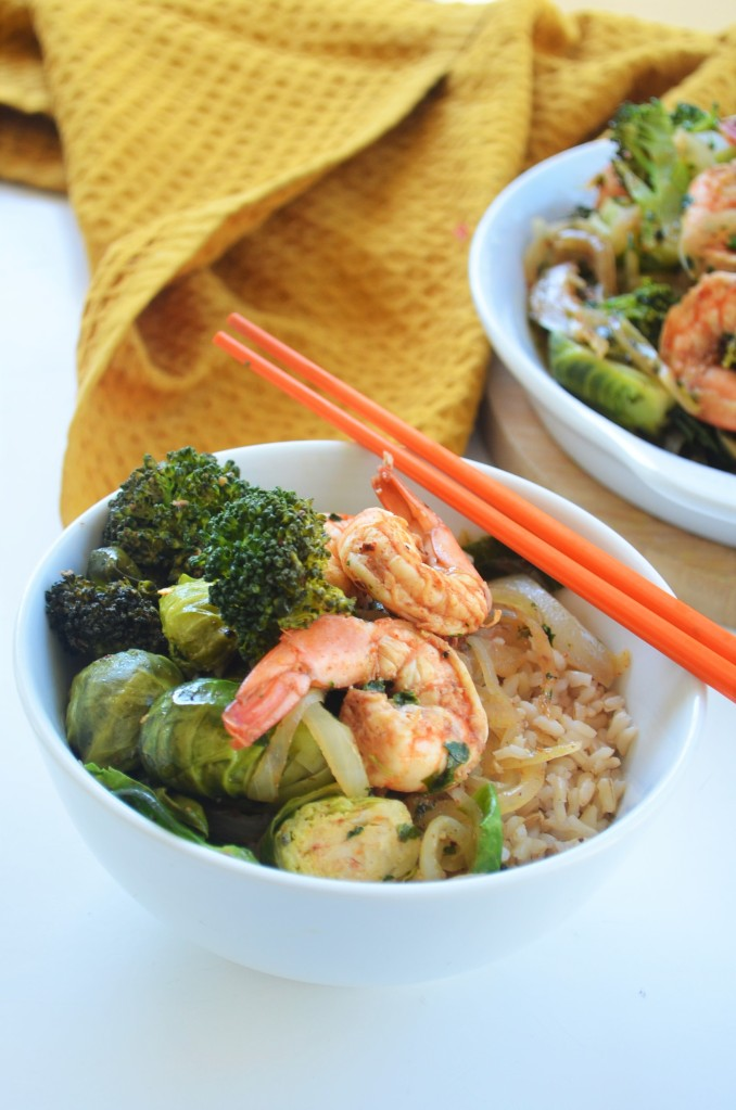 Broccoli and Brussels Sprout Shrimp Stir-Fry By SweetNSpicyLiving