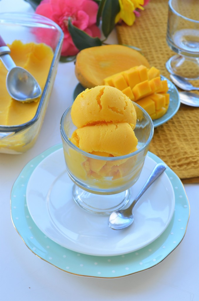 Homemade Mango Frozen Yogurt