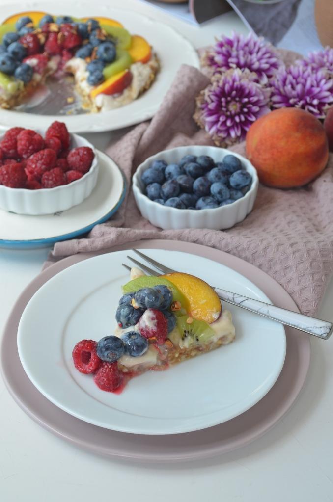 No Bake Dates and cashew Fruit Tart