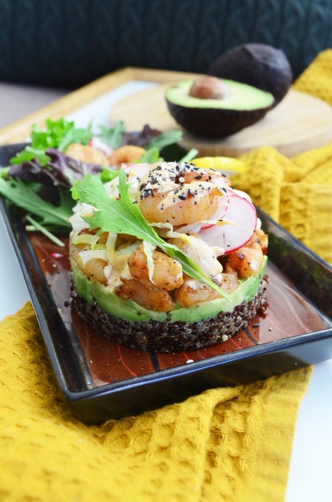 Shrimp and Avocado Stack Salad